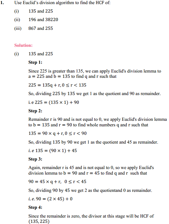 NCERT Solutions for Class 10 Maths Chapter 1 Real Numbers Ex 1.1 1