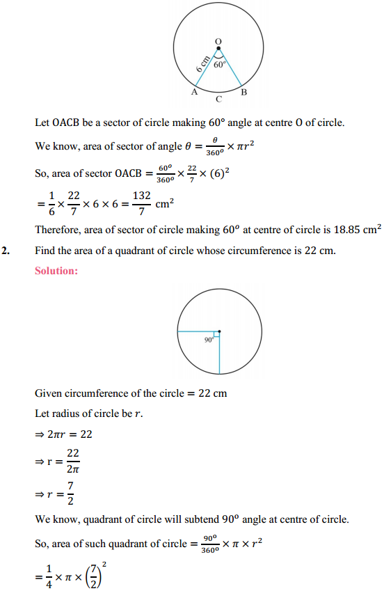 NCERT Solutions for Class 10 Maths Chapter 12 Areas Related to Circles Ex 12.2 2