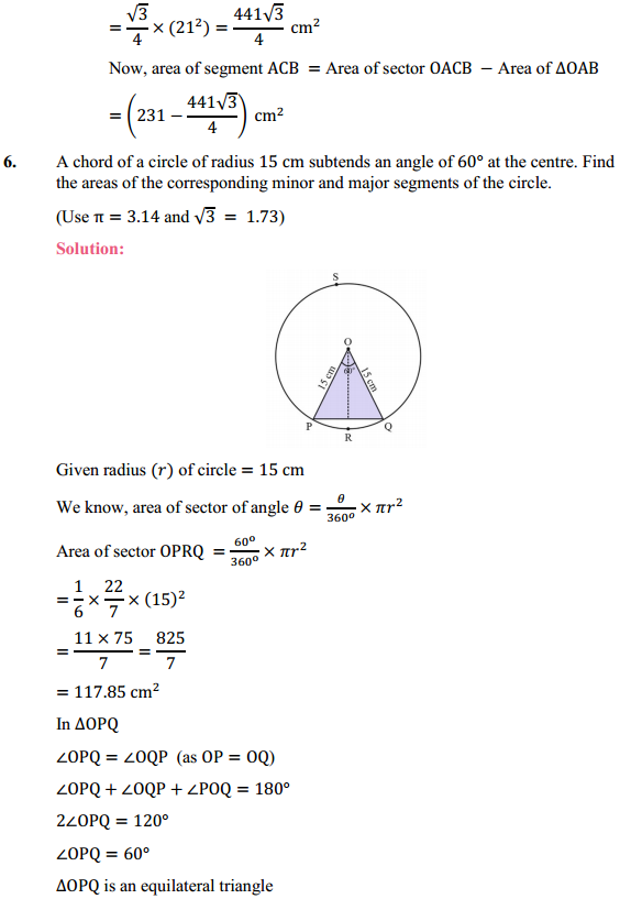 NCERT Solutions for Class 10 Maths Chapter 12 Areas Related to Circles Ex 12.2 6