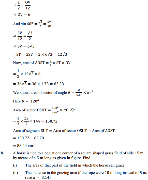 NCERT Solutions for Class 10 Maths Chapter 12 Areas Related to Circles Ex 12.2 8