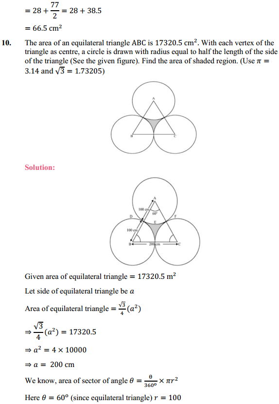 NCERT Solutions for Class 10 Maths Chapter 12 Areas Related to Circles Ex 12.3 12