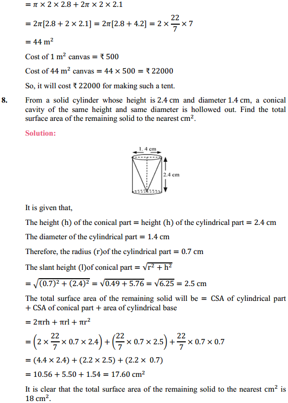 NCERT Solutions for Class 10 Maths Chapter 13 Surface Areas and Volumes Ex 13.1 6