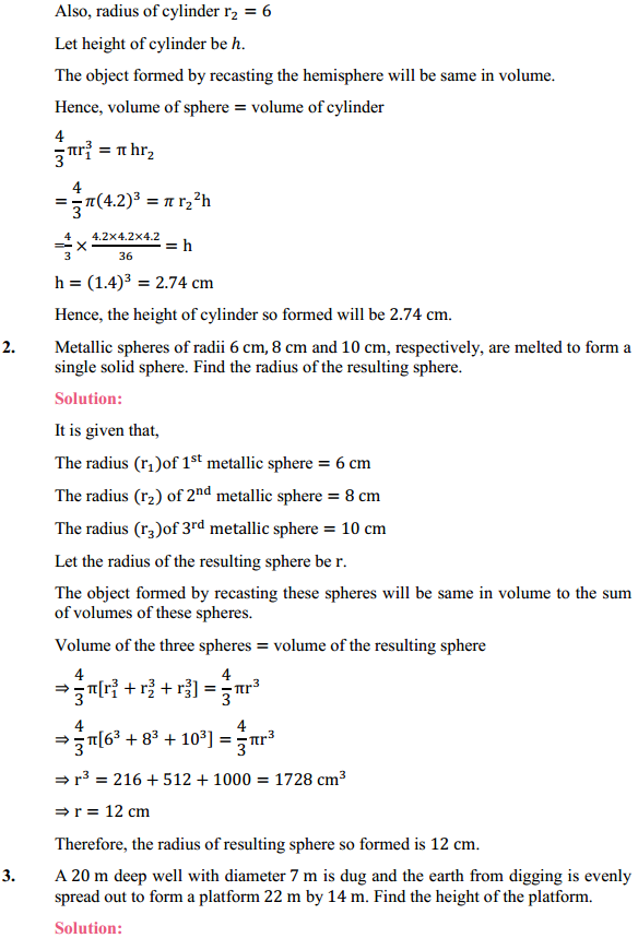 NCERT Solutions for Class 10 Maths Chapter 13 Surface Areas and Volumes Ex 13.3 2