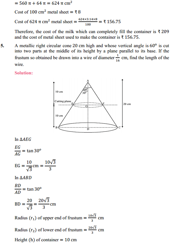 NCERT Solutions for Class 10 Maths Chapter 13 Surface Areas and Volumes Ex 13.4 5