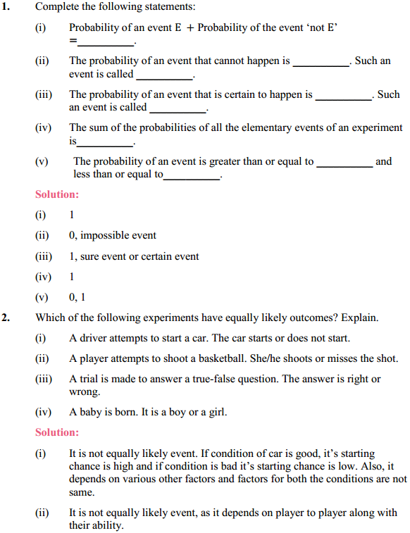 NCERT Solutions for Class 10 Maths Chapter 15 Probability Ex 15.1 1