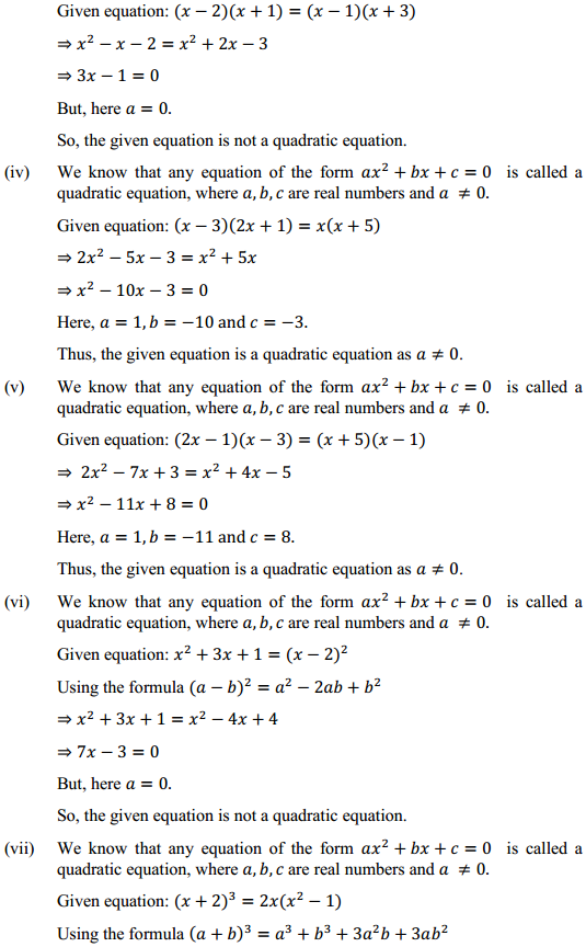 Class 10 Maths Chapter 4 Quadratic Equations Ex 4.1 2 NCERT Solutions