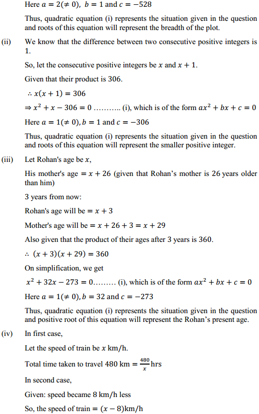 NCERT Solutions for Class 10 Maths Chapter 4 Quadratic Equations Ex 4.1 4