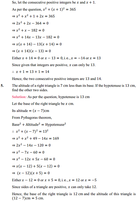 NCERT Solutions for Class 10 Maths Chapter 4 Quadratic Equations Ex 4.2 6