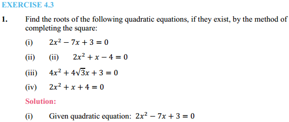 NCERT Solutions for Class 10 Maths Chapter 4 Quadratic Equations Ex 4.3 1