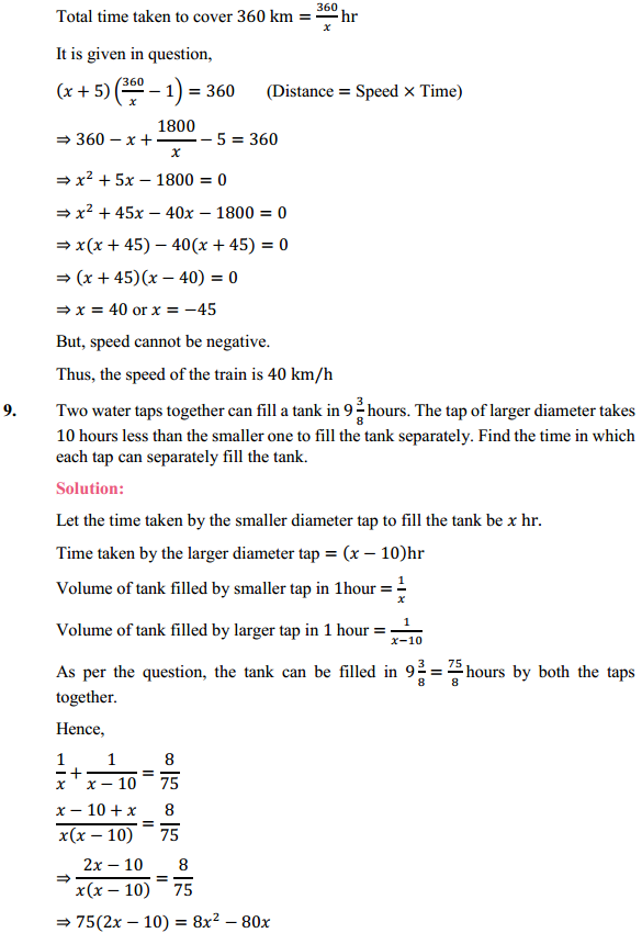 NCERT Solutions for Class 10 Maths Chapter 4 Quadratic Equations Ex 4.3 10
