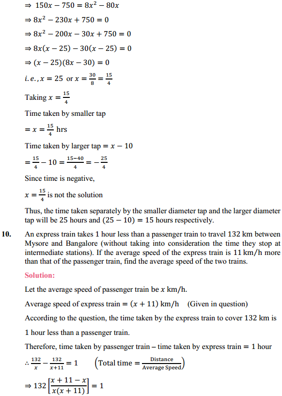 NCERT Solutions for Class 10 Maths Chapter 4 Quadratic Equations Ex 4.3 11