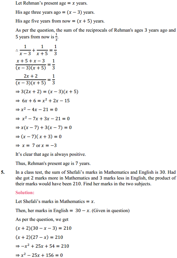 NCERT Solutions for Class 10 Maths Chapter 4 Quadratic Equations Ex 4.3 7