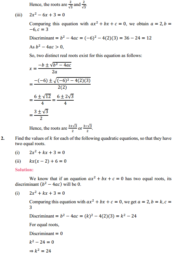 NCERT Solutions for Class 10 Maths Chapter 4 Quadratic Equations Ex 4.4 2