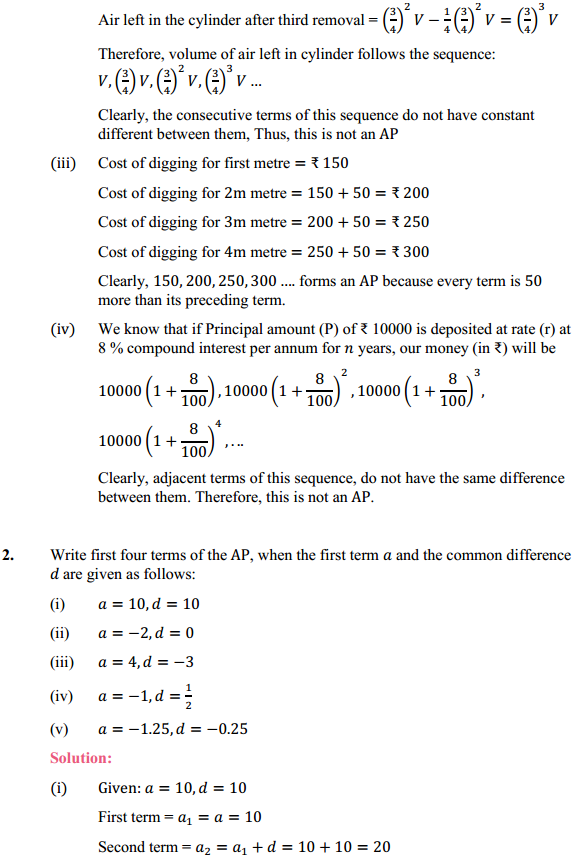 NCERT Solutions for Class 10 Maths Chapter 5 Arithmetic Progressions Ex 5.1 2