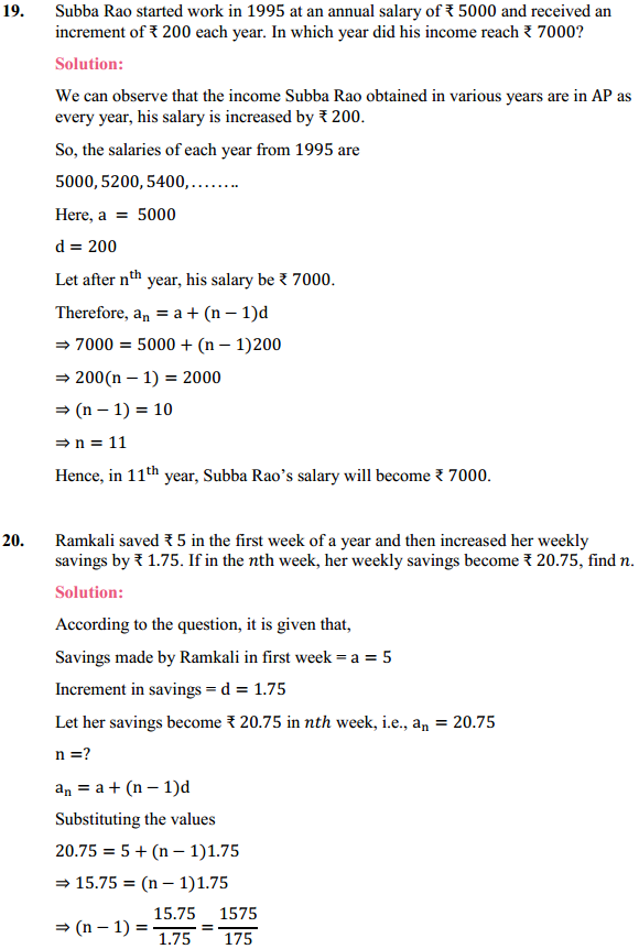 NCERT Solutions for Class 10 Maths Chapter 5 Arithmetic Progressions Ex 5.2 20