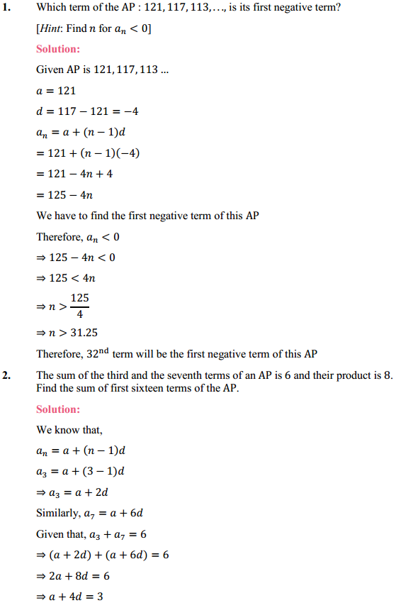 NCERT Solutions for Class 10 Maths Chapter 5 Arithmetic Progressions Ex 5.4 1