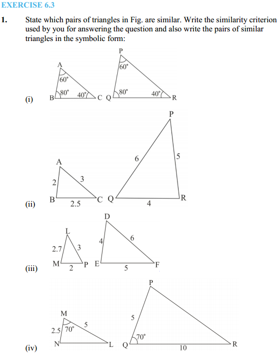 NCERT Solutions for Class 10 Maths Chapter 6 Triangles Ex 6.3 1