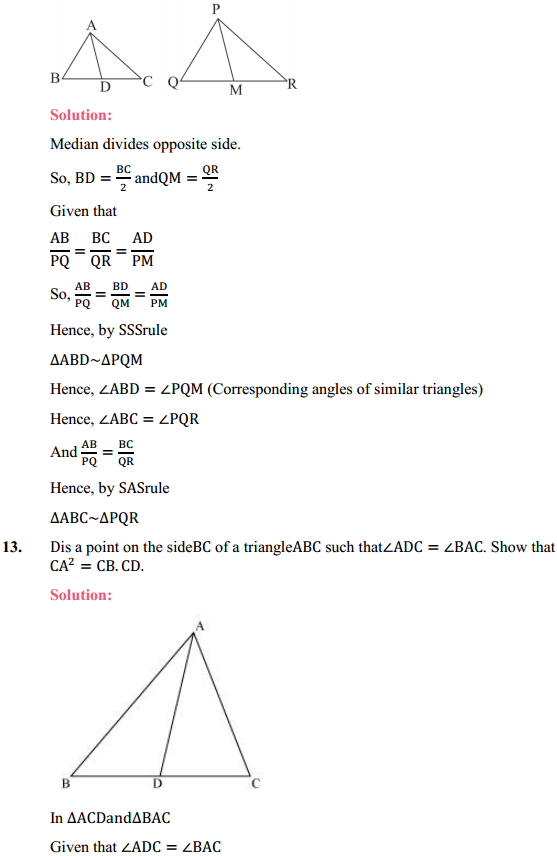 NCERT Solutions for Class 10 Maths Chapter 6 Triangles Ex 6.3 12
