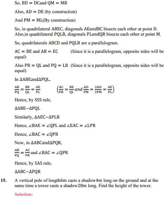 NCERT Solutions for Class 10 Maths Chapter 6 Triangles Ex 6.3 14