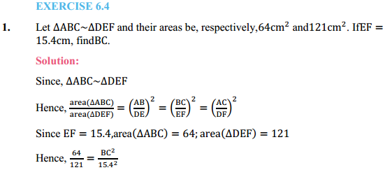 NCERT Solutions for Class 10 Maths Chapter 6 Triangles Ex 6.4 1