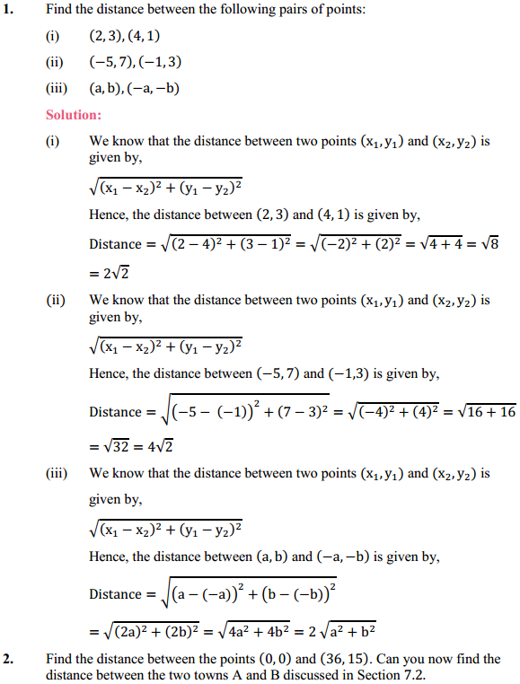 NCERT Solutions for Class 10 Maths Chapter 7 Coordinate Geometry Ex 7.1 1