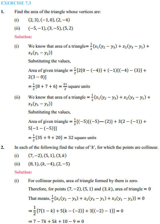 NCERT Solutions for Class 10 Maths Chapter 7 Coordinate Geometry Ex 7.3 1