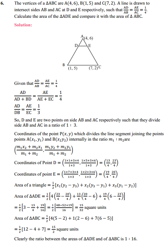 NCERT Solutions for Class 10 Maths Chapter 7 Coordinate Geometry Ex 7.4 6
