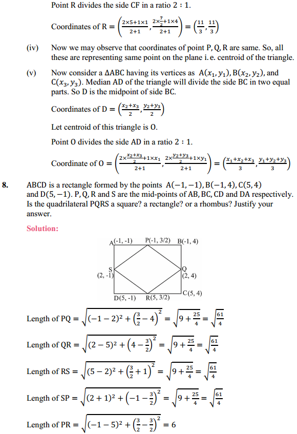 NCERT Solutions for Class 10 Maths Chapter 7 Coordinate Geometry Ex 7.4 8