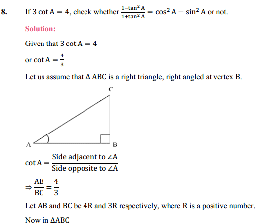 NCERT Solutions for Class 10 Maths Chapter 8 Introduction to Trigonometry Ex 8.1 13