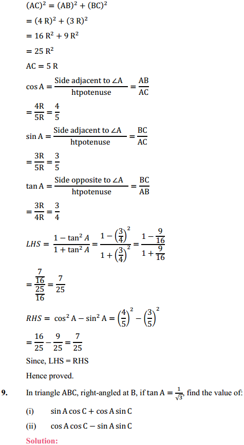 NCERT Solutions for Class 10 Maths Chapter 8 Introduction to Trigonometry Ex 8.1 14