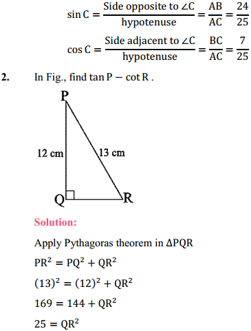 NCERT Solutions for Class 10 Maths Chapter 8 Introduction to Trigonometry Ex 8.1 2