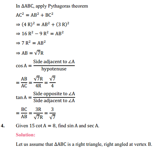 NCERT Solutions for Class 10 Maths Chapter 8 Introduction to Trigonometry Ex 8.1 5