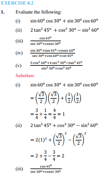 NCERT Solutions for Class 10 Maths Chapter 8 Introduction to Trigonometry Ex 8.2 1