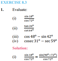 NCERT Solutions for Class 10 Maths Chapter 8 Introduction to Trigonometry Ex 8.3 1