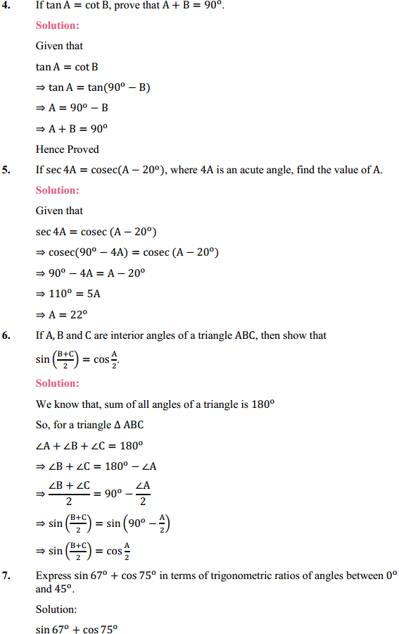 NCERT Solutions for Class 10 Maths Chapter 8 Introduction to Trigonometry Ex 8.3 4