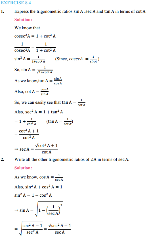 NCERT Solutions for Class 10 Maths Chapter 8 Introduction to Trigonometry Ex 8.4 1