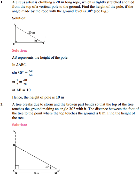 NCERT Solutions for Class 10 Maths Chapter 9 Some Applications of Trigonometry Ex 9.1 1