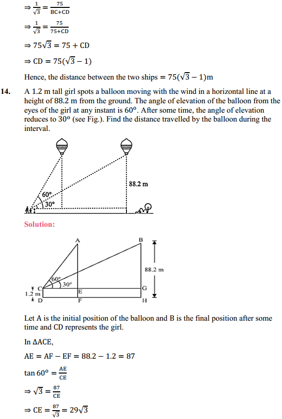 NCERT Solutions for Class 10 Maths Chapter 9 Some Applications of Trigonometry Ex 9.1 12