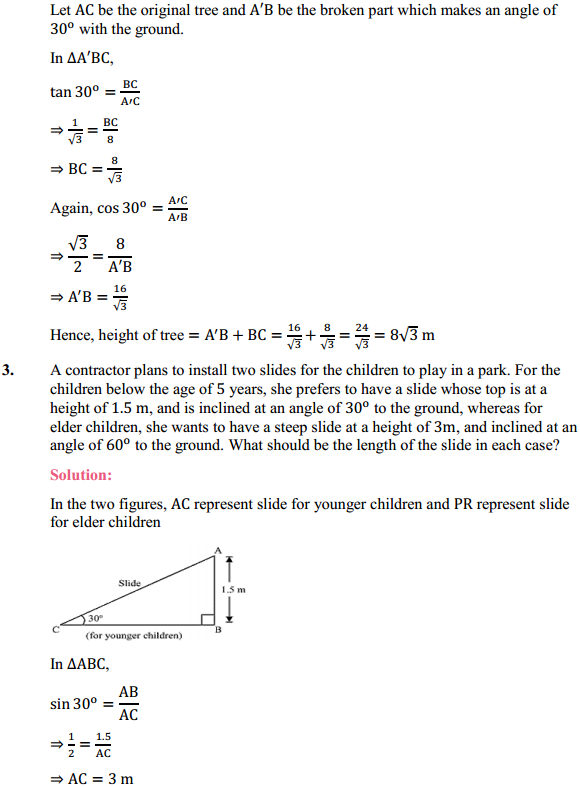 NCERT Solutions for Class 10 Maths Chapter 9 Some Applications of Trigonometry Ex 9.1 2
