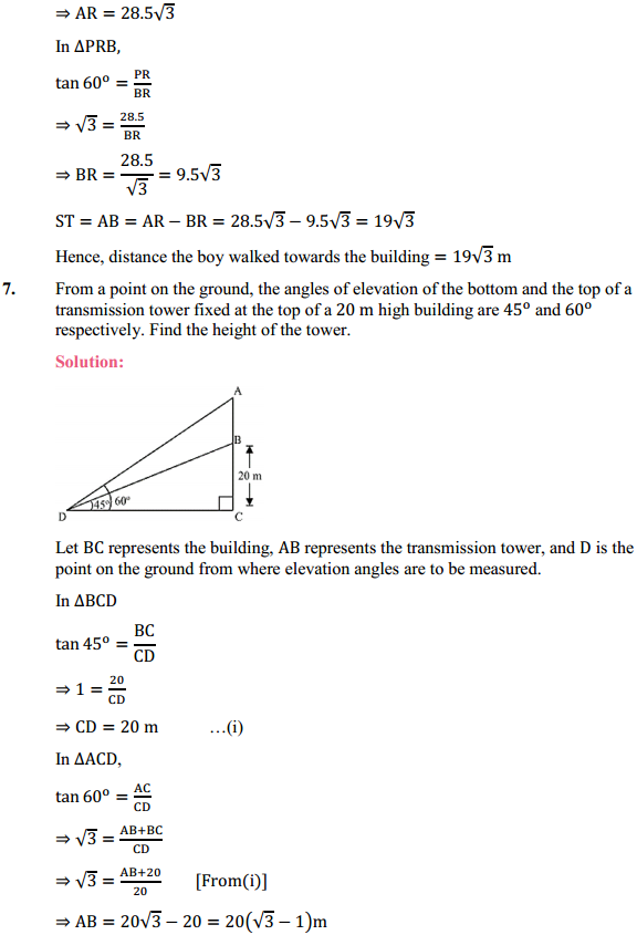 NCERT Solutions for Class 10 Maths Chapter 9 Some Applications of Trigonometry Ex 9.1 5