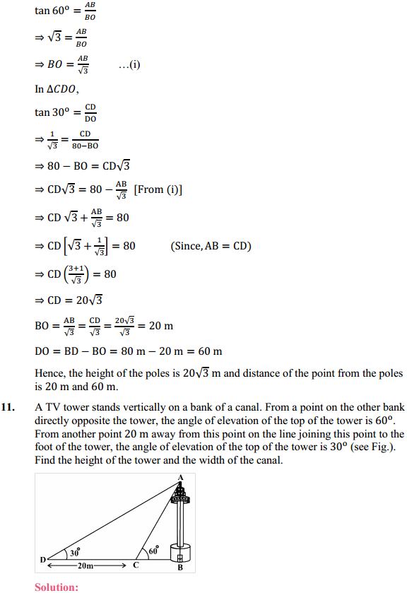 NCERT Solutions for Class 10 Maths Chapter 9 Some Applications of Trigonometry Ex 9.1 8