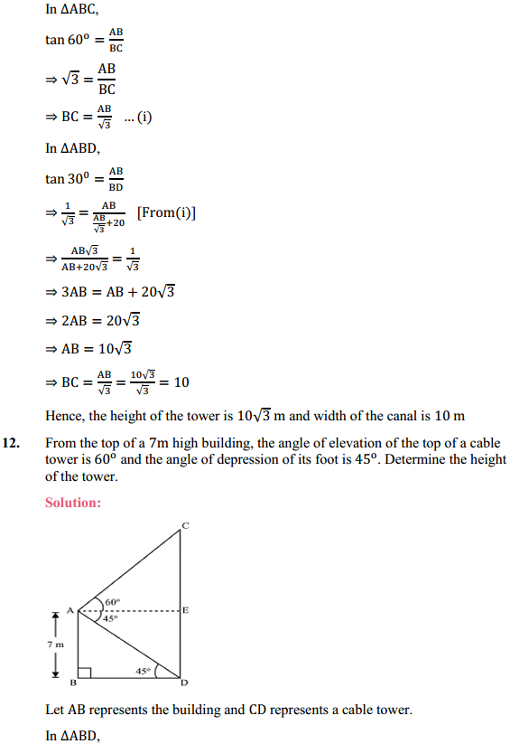 NCERT Solutions for Class 10 Maths Chapter 9 Some Applications of Trigonometry Ex 9.1 10